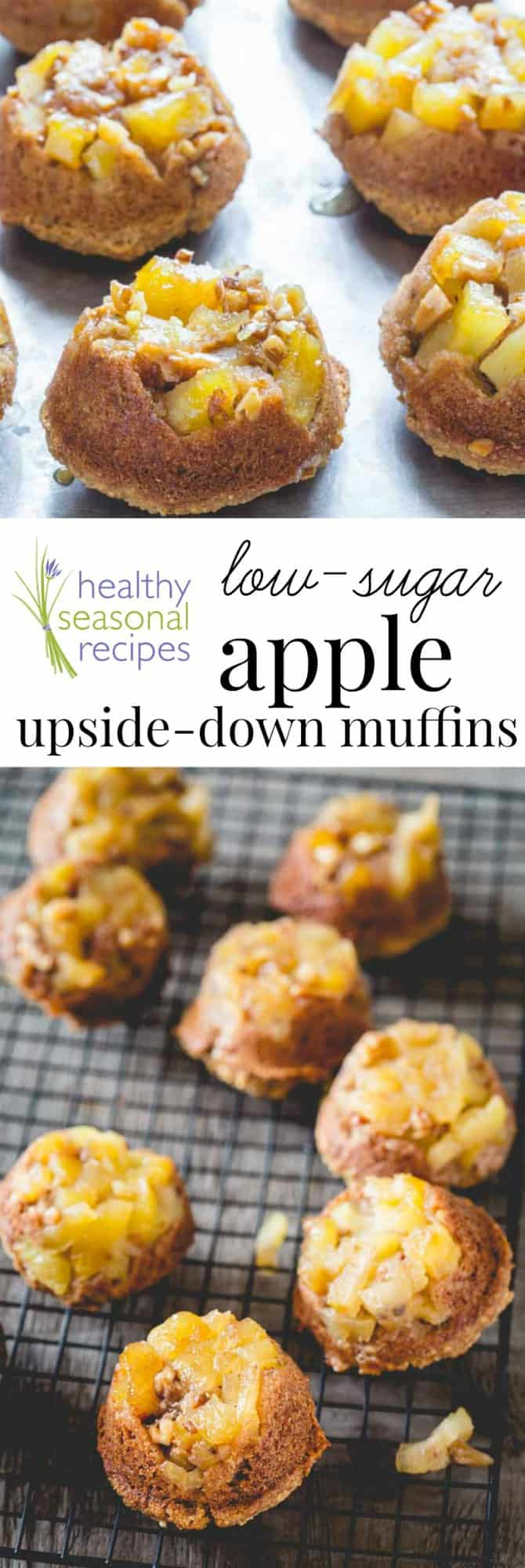 low sugar apple upside down muffins