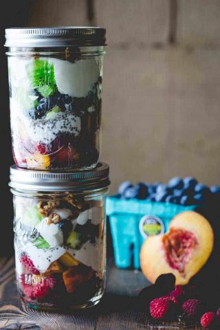 Make these Healthy Rainbow Parfaits the night before, and pack them into lunchboxes for an easy lunch. HealthySeasonalRecipes.com