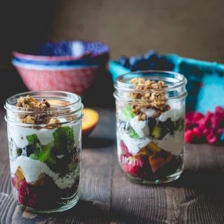 Step away from the Lunchables and make these pretty and healthy layered rainbow fruit parfaits to go in your childrens' lunchboxes instead! HealthySeasonalRecipes.com