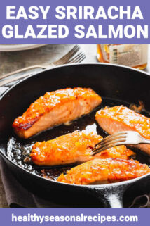 glazed salmon in a skillet with text overlay with fork