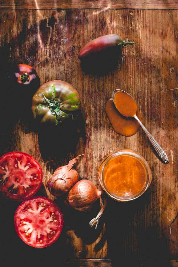 Tomatoes add volume to this Smoky Tomato Shallot Dressing by Healthy Seasonal Recipes to make it low-calorie, but still very flavorful.