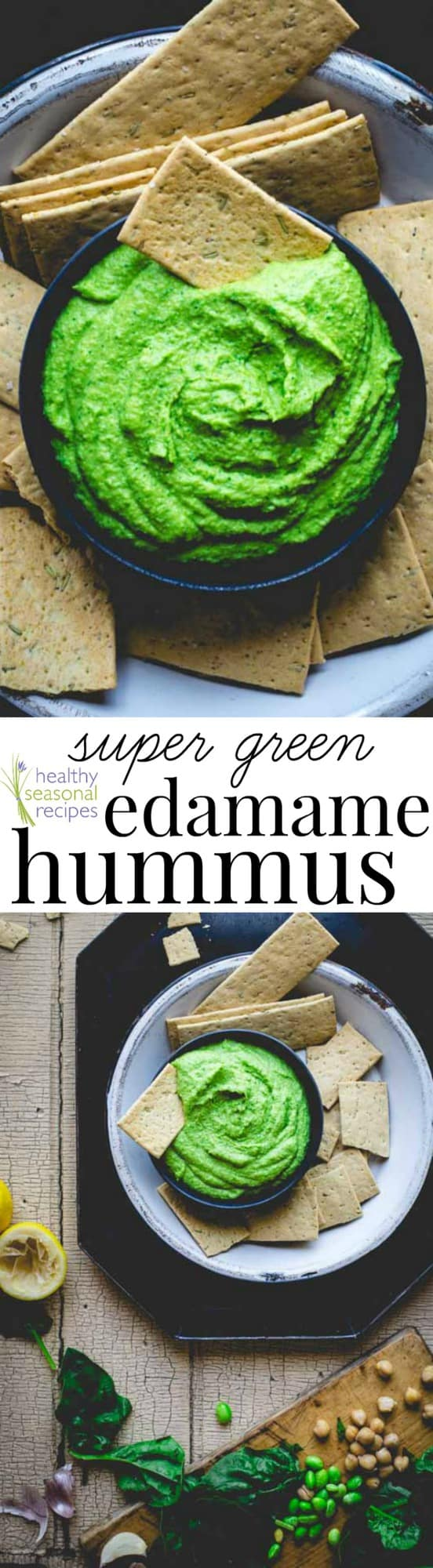 green hummus photo collage with text
