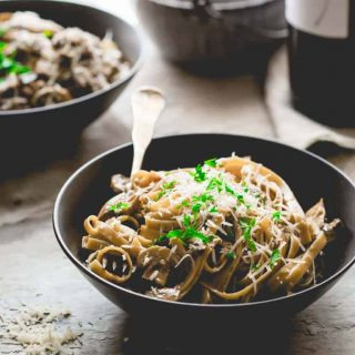 This Vegetarian Fettuccine Carbonara with Mushrooms featured on Healthy Seasonal Recipes is a healthier take on carbonara but is still creamy, saucy and full of flavor!