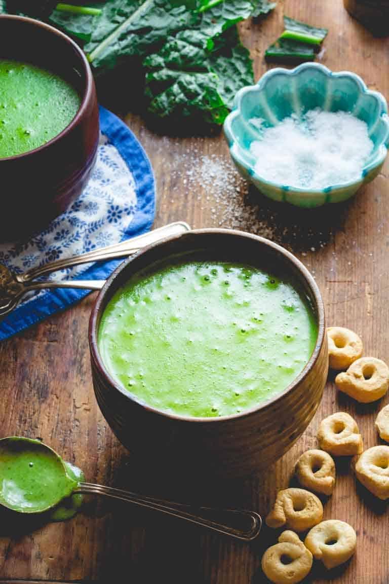 4 ingredient kale cheddar soup
