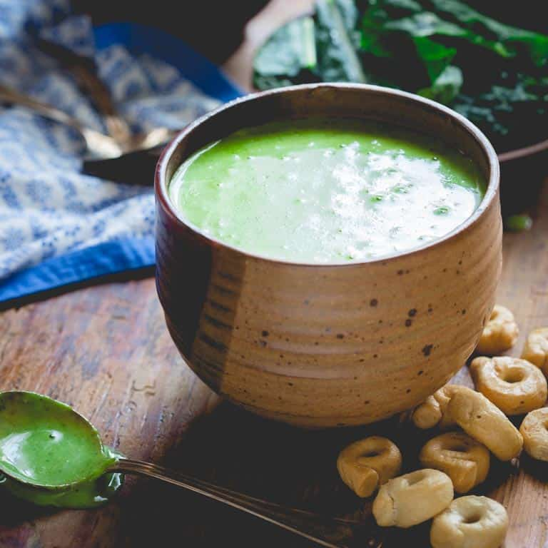 4 ingredient kale cheddar soup