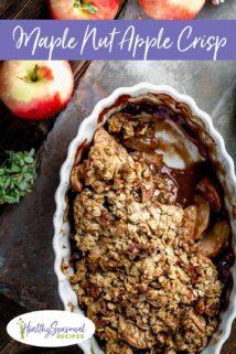 close up of maple nut apple crisp