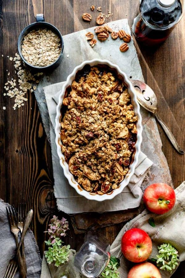 an overhead view of apple crisp just out of the oven