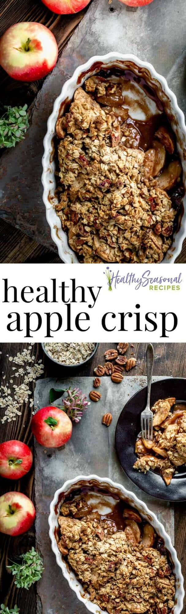Healthy Maple Apple Crisp This maple sweetened apple crisp is the perfect dessert to bake this Fall. It\'s made with a variety of apples to amp up the juicy flavor and then topped with pecans and rolled oats to really take it to the next level! #apples #applecrisp #maple #dessert #healthy