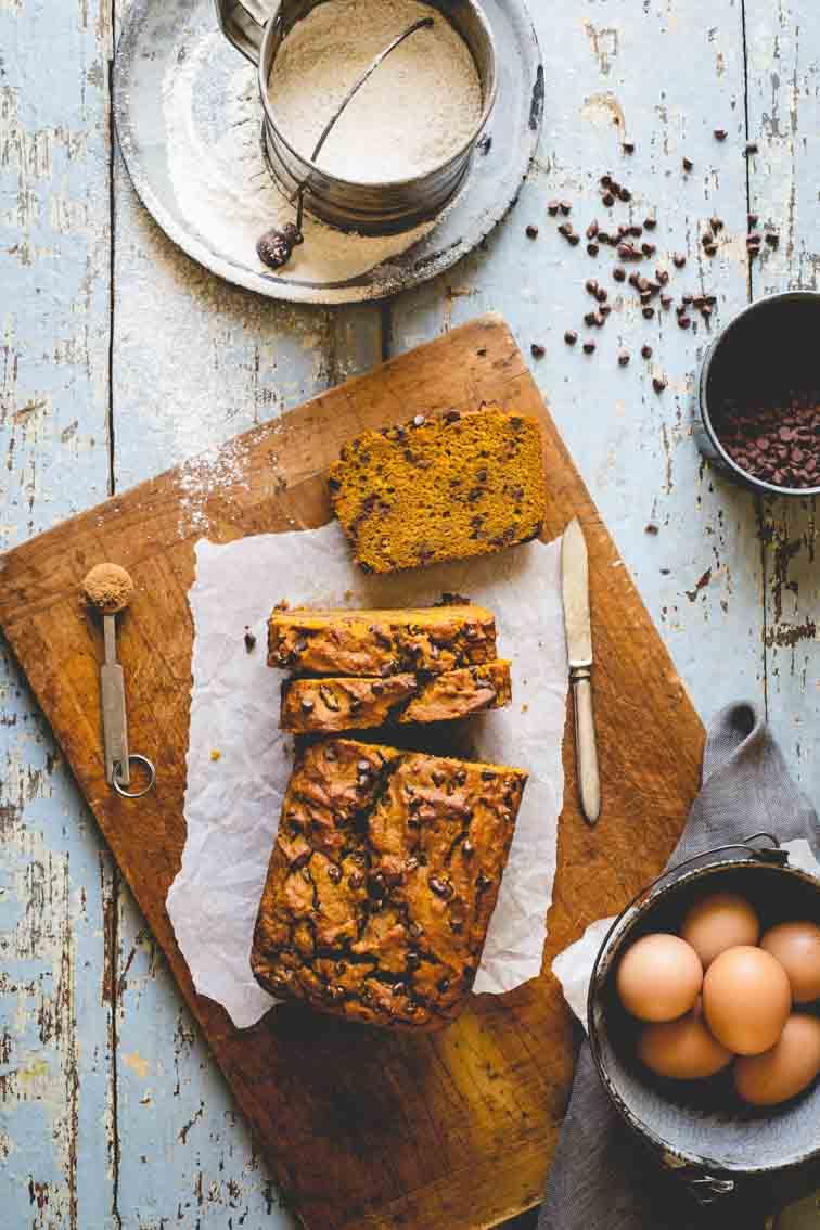Healthy Pumpkin Bread on cutting board