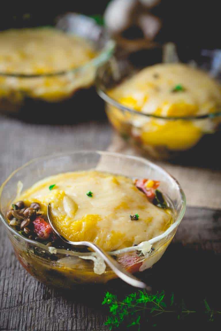 Vegetarian Shepherd's Pies with Butternut Squash   gluten free   grain free   comfort food   Healthy Seasonal Recipes