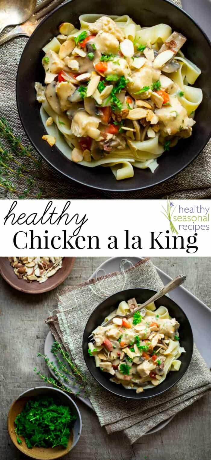 This healthy chicken a la king is a makeover of the classic comfort food dish and is loaded with fresh vegetables and just a splash of half-and-half! #chicken #dinner #healthy #comfortfood #easy