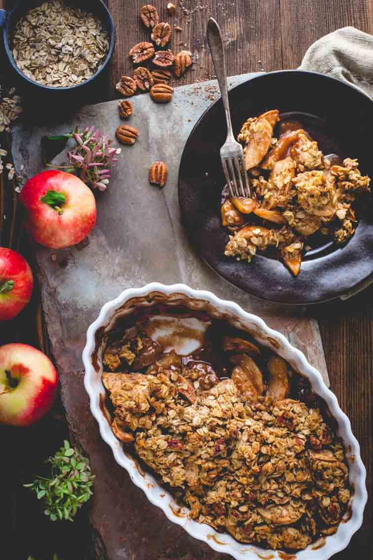 apple crisp in baking dish and on plate