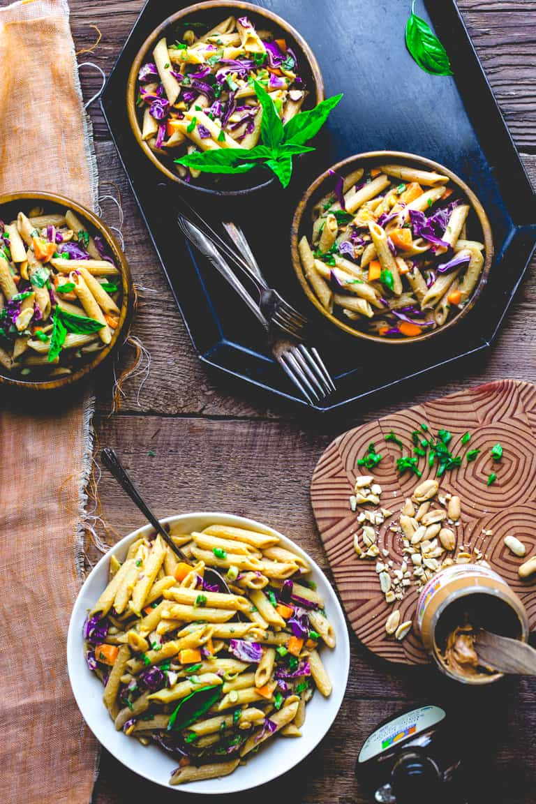 Peanut Noodles with Cabbage and Basil | Healthy Seasonal Recipes | Vegetarian