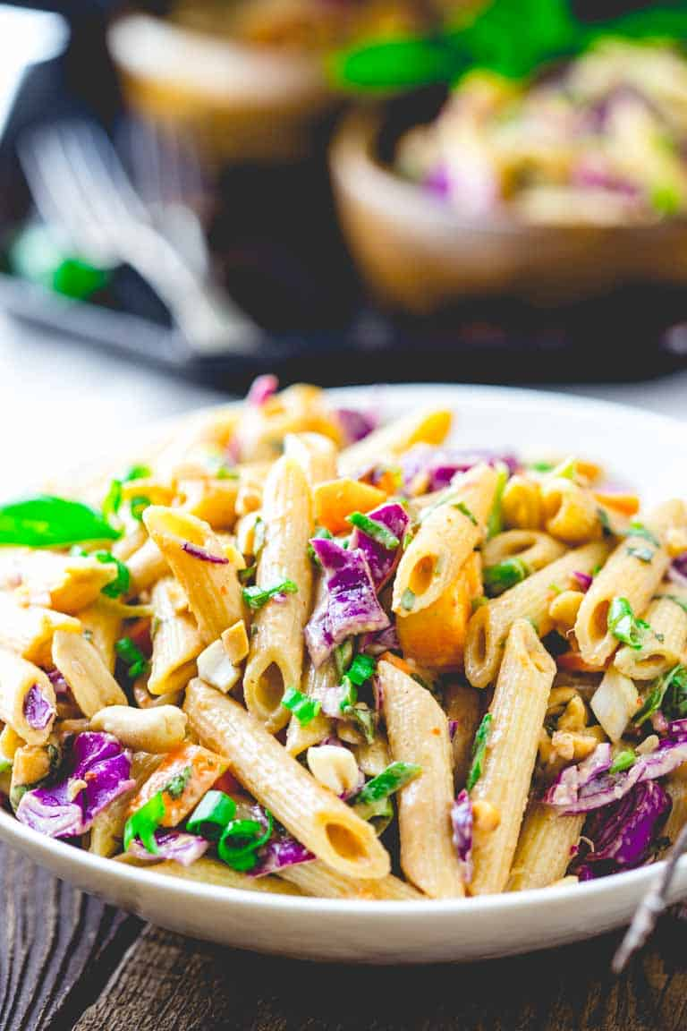 Peanut Noodles with Cabbage and Basil