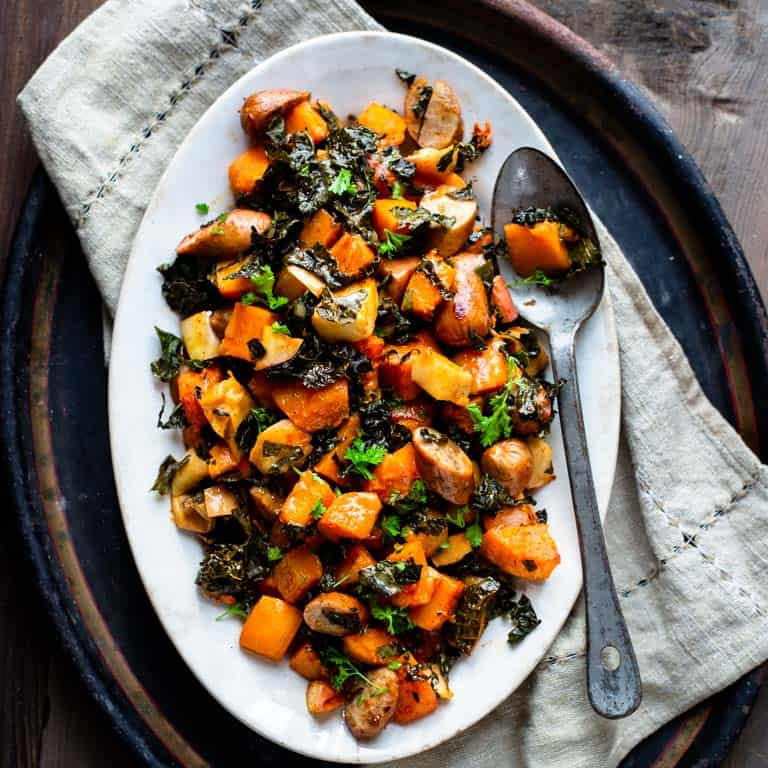 one pan roasted squash, apple, and sausage dinner