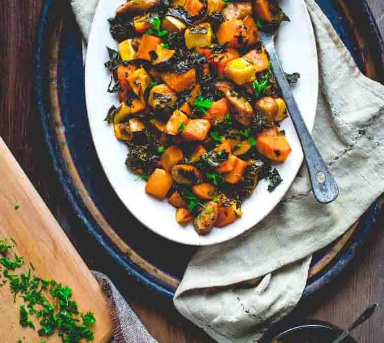 one pan roasted squash, sausage and apple bake