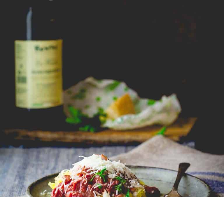 spaghetti squash with amatriciana sauce