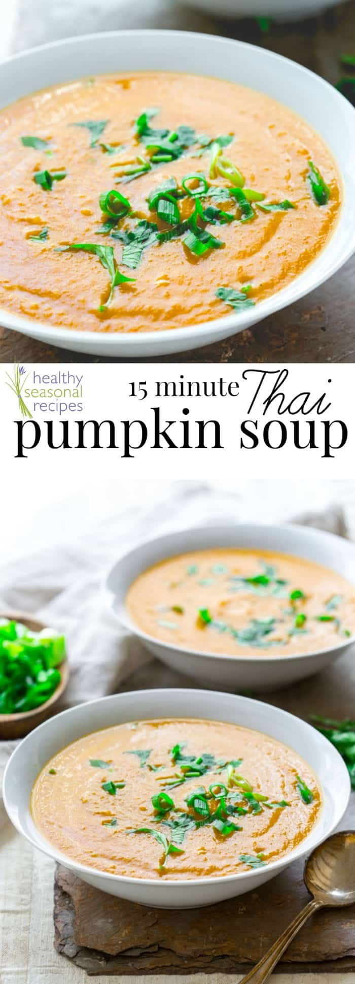 A bowl of Thai pumpkin soup photo collage with text