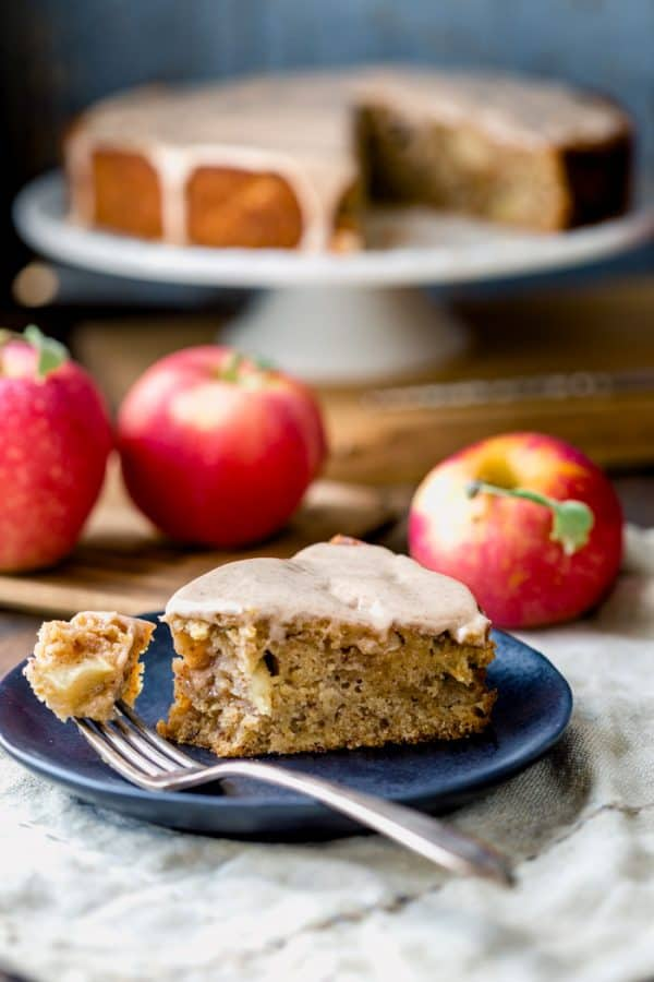 Apple Cake with almond and maple syrup with a cinnamon maple icing on top!