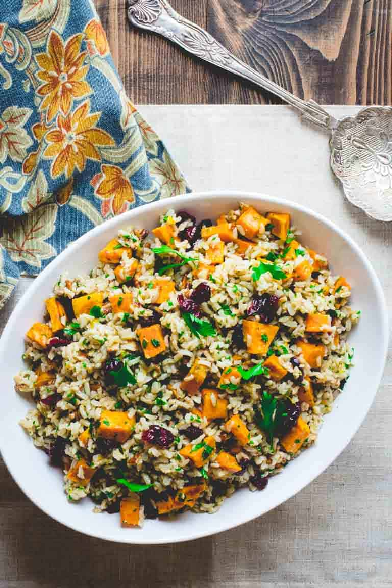 Brown Rice and Sweet Potato Salad | Side Dish | Weeknight | Organic for All | Thanksgiving | Healthy Seasonal Recipes