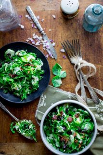 Brussels Sprouts Slaw with Bacon and Blue Cheese | Thanksgiving | Salad | Side Dish | no-cook | Fall | Healthy Seasonal Recipes