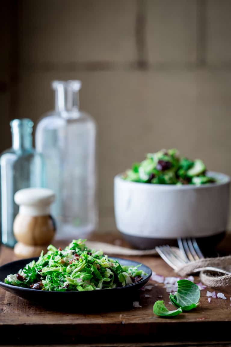 Brussels Sprouts Slaw with Bacon and Blue Cheese | Thanksgiving | Salad | Side Dish | Vegetarian | Fall | Healthy Seasonal Recipes