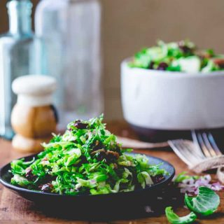 Raw Brussels Sprouts Slaw with Bacon and Blue Cheese | Healthy Seasonal Recipes Katie Webster