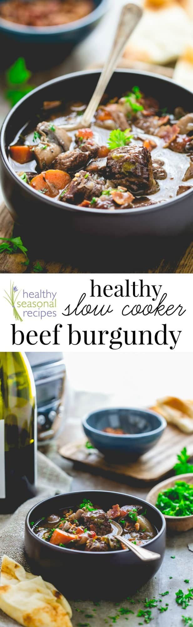This healthy Slow Cooker Beef Burgundy features braised beef and vegetables in a red wine sauce with a bit of bacon and maple syrup added for good measure! #french #frenchfood #frenchrecipe #slowcooker #crockpot #beef #beefburgundy #beefstew #redwine #stew #winterrecipe #comfortfood #healthyrecipe #healthy