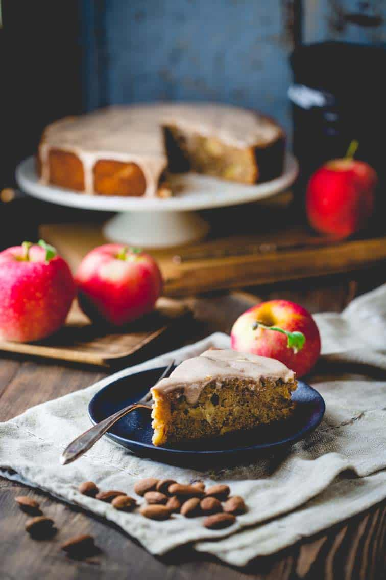 Maple Apple Almond Cake | Fall | Dessert | Whole Wheat | Baking | Holiday | Healthy Seasonal Recipes