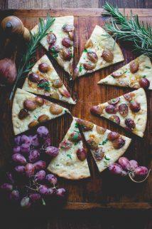 Pizza with Roasted Grapes and Rosemary | Fall | Kid Friendly | Weeknight | Dinner | Gouda | Roasting | Healthy Seasonal Recipes