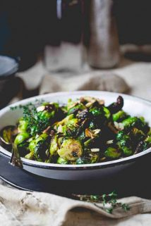 Roasted Brussels Sprouts with Balsamic Vinegar and Thyme | Thanksgiving | Side Dish | Vegetarian | Healthy Seasonal Recipes | Katie Webster