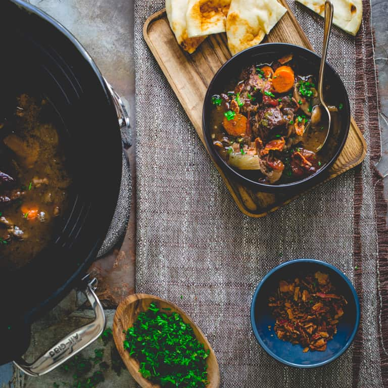 bowl of slow cooker beef burgundy