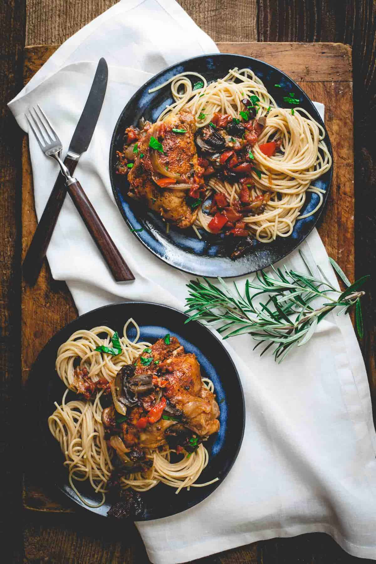 Slow Cooker Chicken Cacciatore | Healthy Seasonal Recipes by Katie Webster