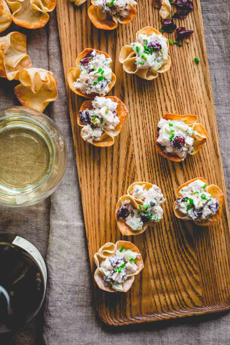 15 minute Chicken Salad Bites with Cranberries and Walnuts. Made with creamy Greek Yogurt! Healthy Seasonal Recipes by Katie Webster