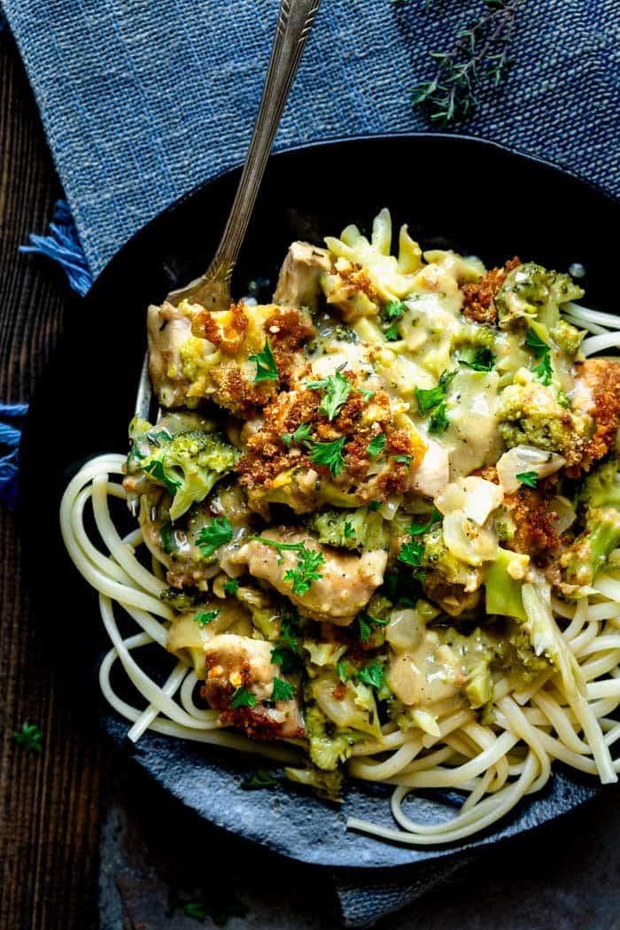 chicken and broccoli casserole over spaghetti