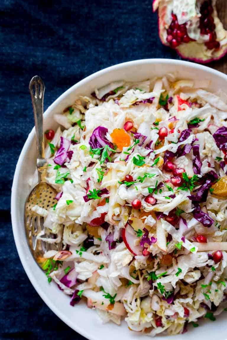 Easy Holiday Slaw with Apple and Pomegranate | Side Dish | Salad | Holiday | Vegetarian | Christmas | Winter | Healthy Seasonal Recipes | Katie Webster