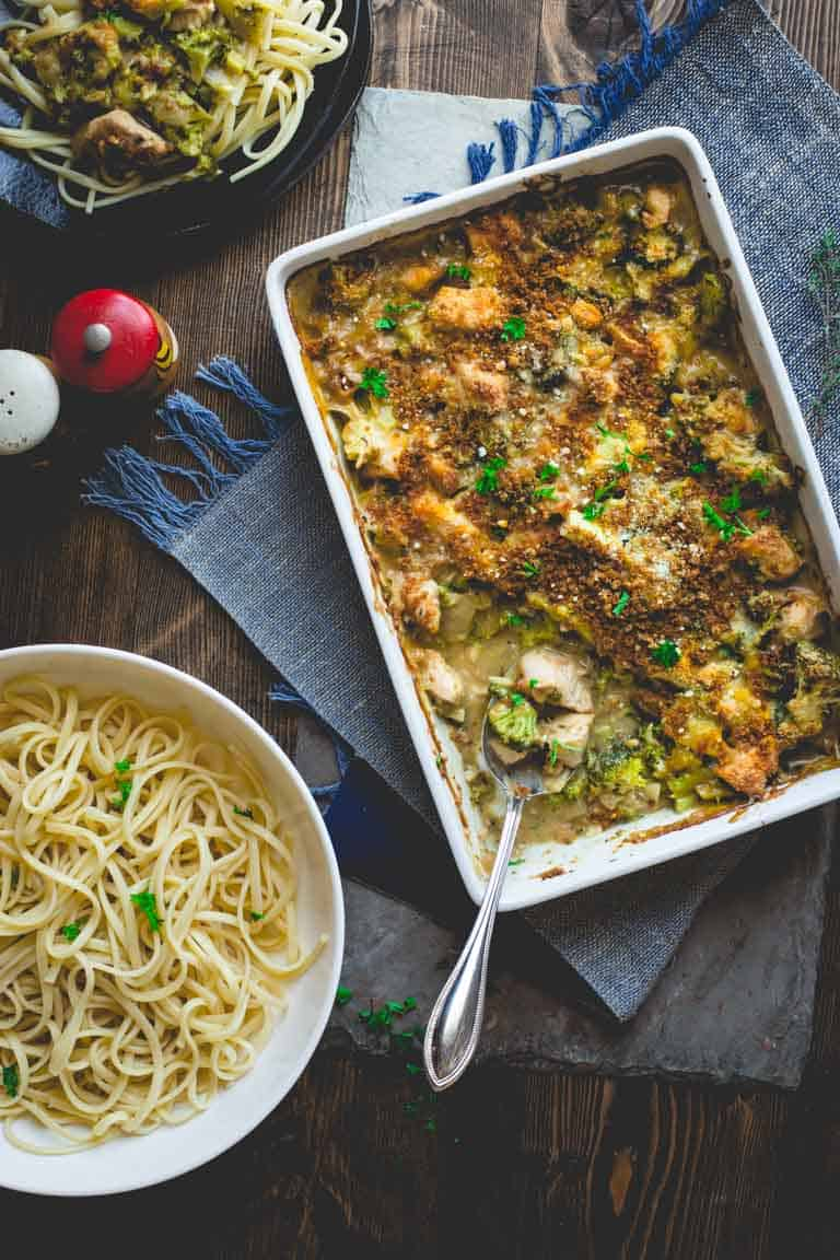 Chicken Divan in baking dish with pasta