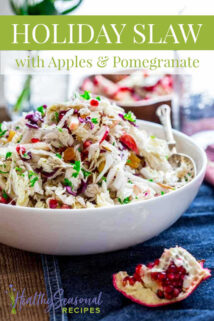 bowl of holiday slaw with pomegranate