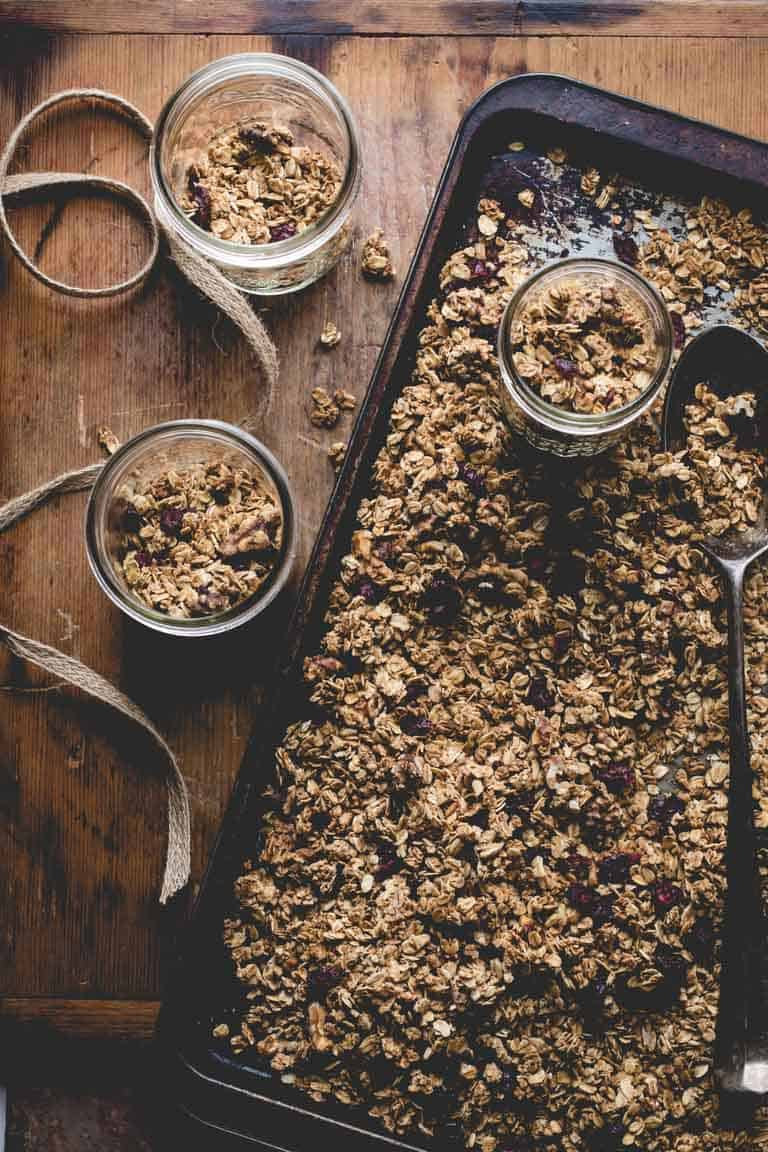 Maple Granola on baking sheet