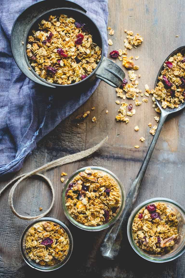 Maple Granola with Cranberries and Walnuts on Healthy Seasonal Recipes by Katie Webster