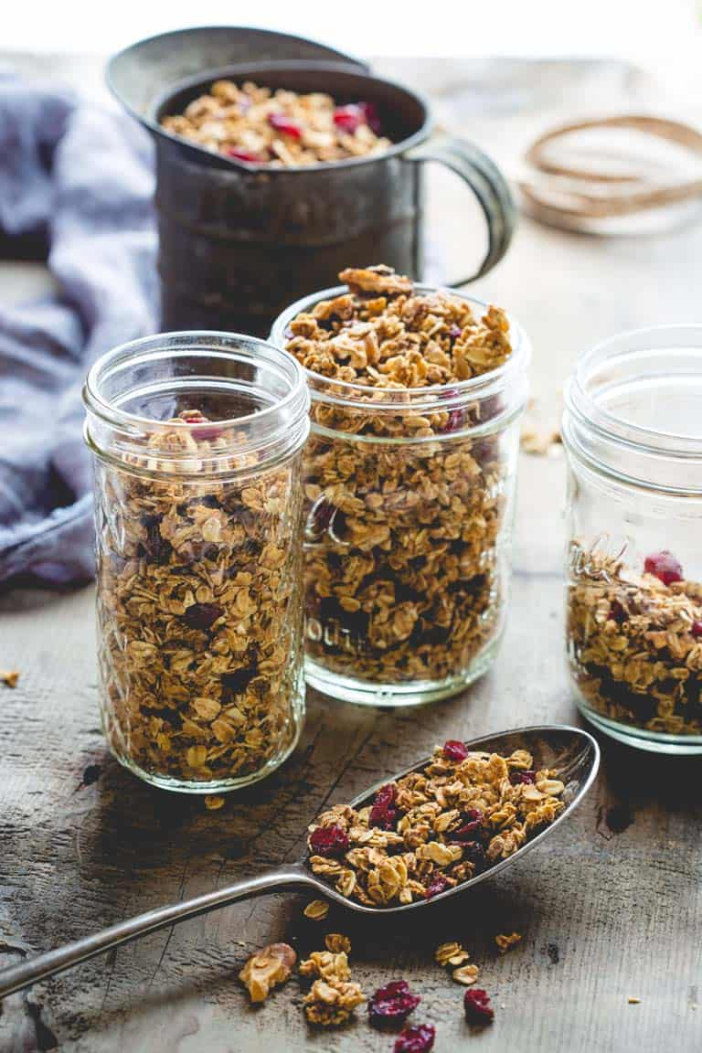 Maple Granola in glass jars