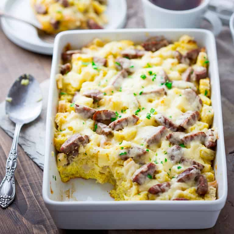 apple cheddar and sausage breakfast strata