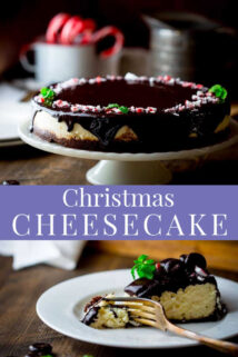 Collage of Christmas Peppermint Cheesecake