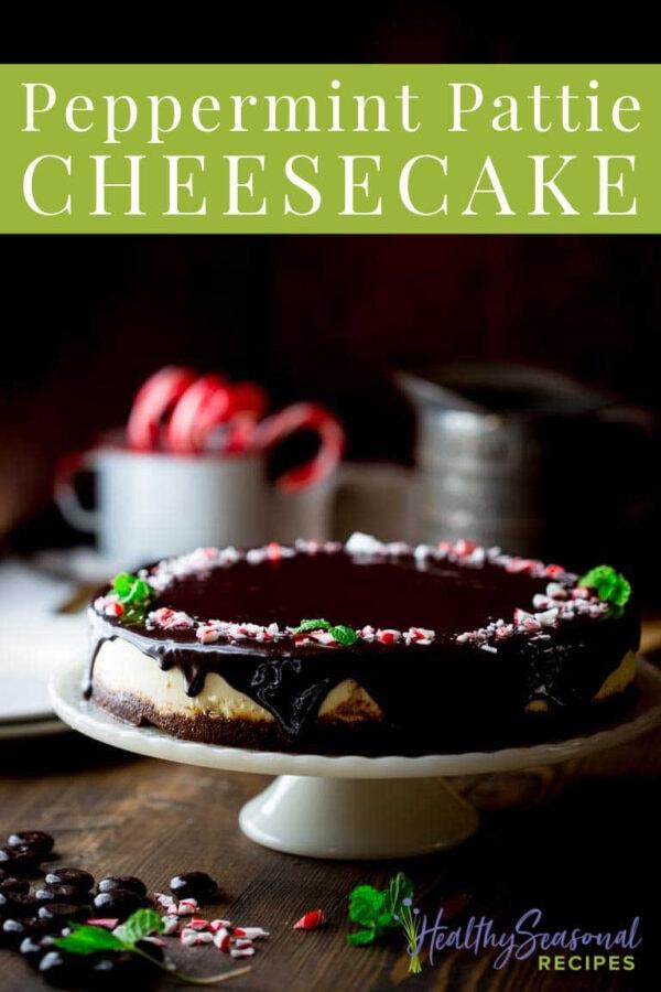 Dark close up of peppermint pattie chocolate cheesecake