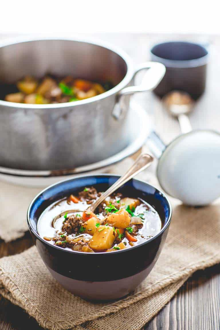 Quick Beef Stew. An easy and healthy stove-top beef stew recipe on Healthy Seasonal Recipes by Katie Webster