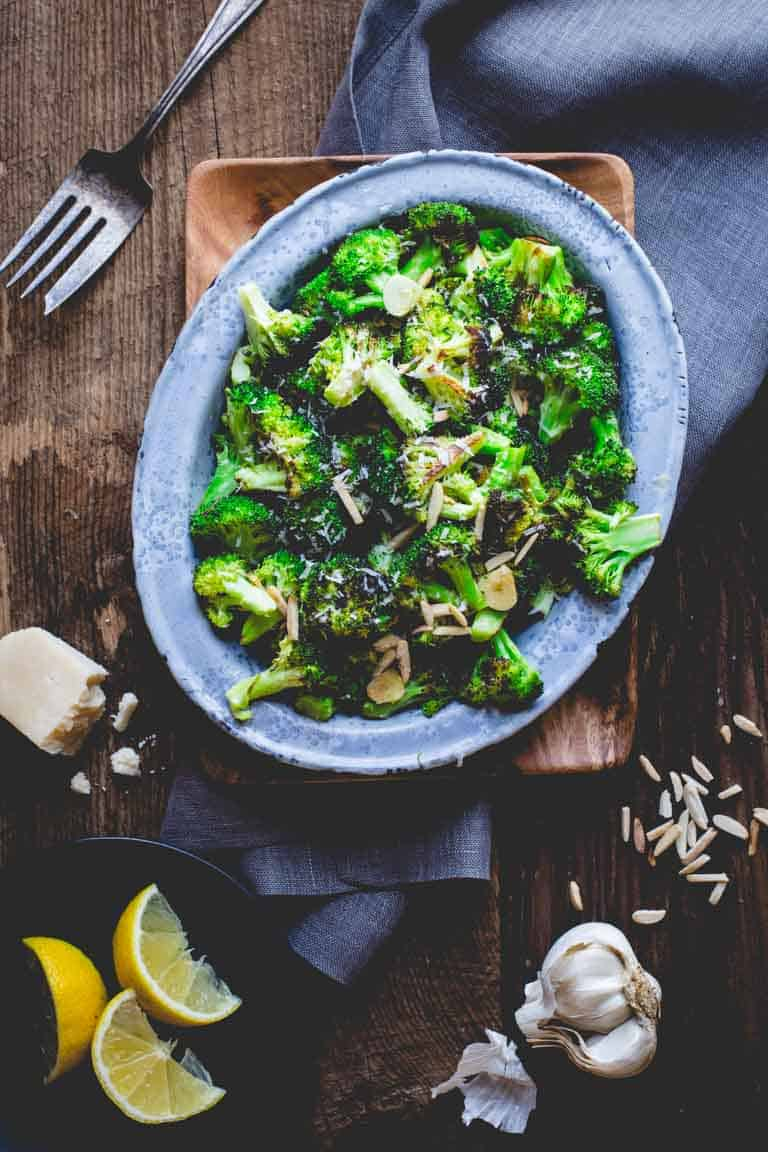 Roasted Broccoli with Asiago, Garlic and Almonds | Cookbook | Sides | Vegetarian | 30 minutes or less | Gluten-Free | Healthy Seasonal Recipes | Katie Webster