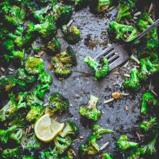Roasted Broccoli with Asiago, Garlic and Almonds | Sides | Vegetarian | 30 minutes or less | Gluten-Free | Healthy Seasonal Recipes | Katie Webster