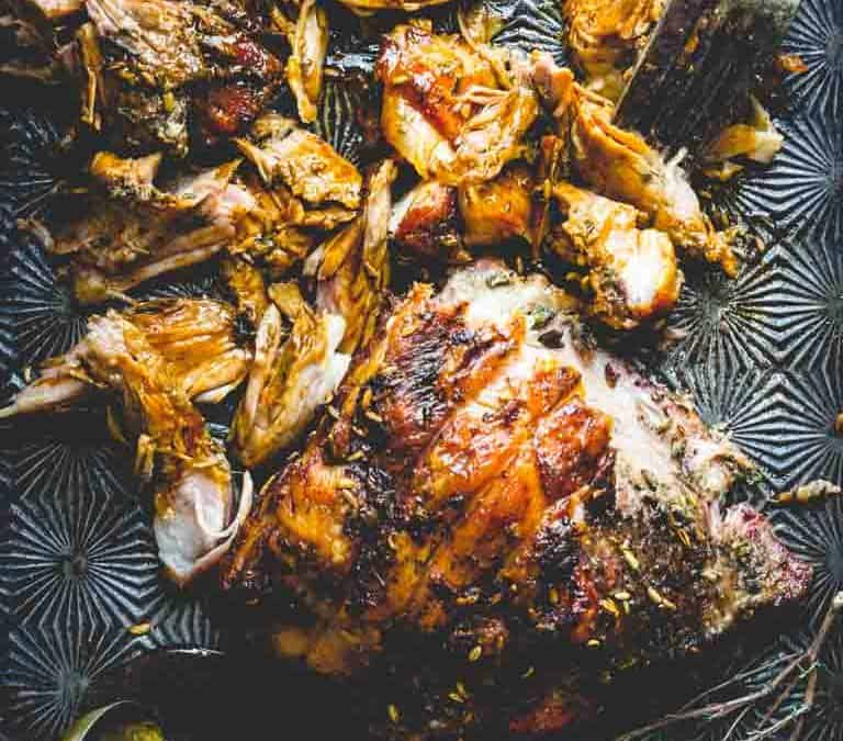 slow roasted pork shoulder with fennel, lemon and rosemary