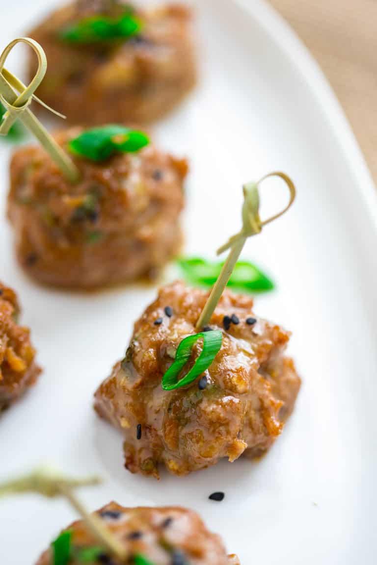 tamari turkey meatballs with maple tahini glaze | sponsored post | winter | holiday | appetizer | Healthy Seasonal Recipes | Katie Webster