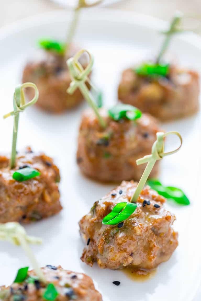 tamari turkey meatballs with maple tahini glaze